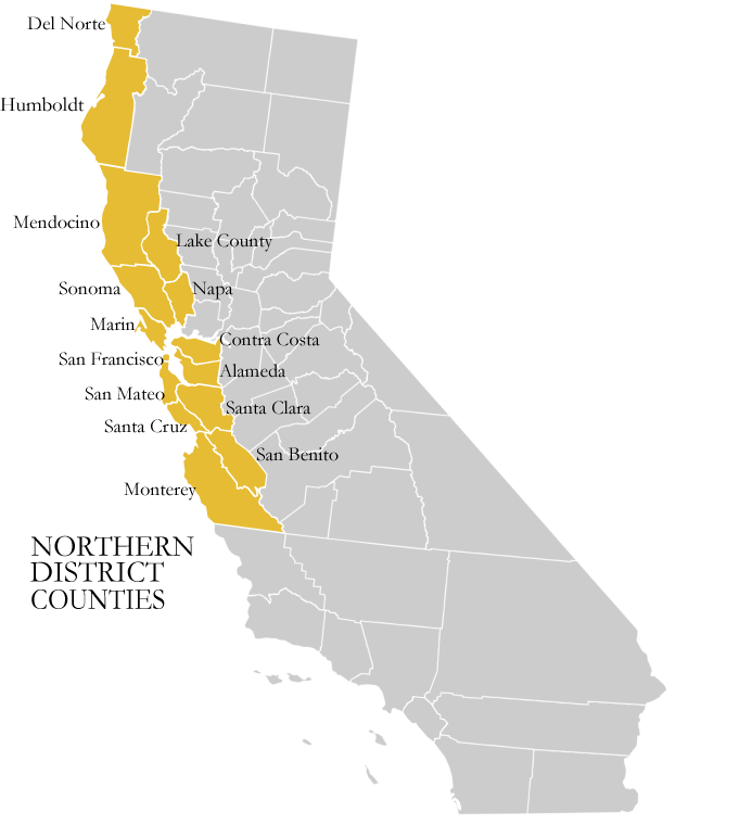 Map of Northern District of California counties:  Del Norte, Humboldt, Mendocino, Lake County, Sonoma, Napa, Marin, Contra Costa, San Francisco, Alameda, San Mateo, Santa Cruz, Santa Clara, San Benito, Monterey.